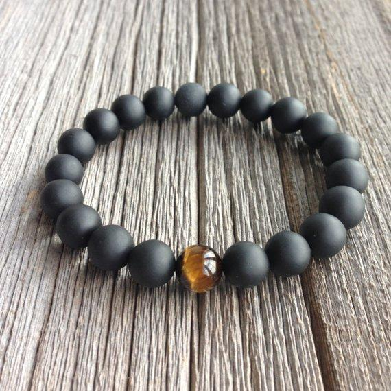 Onyx and Tiger Eye Men's Beaded Bracelet